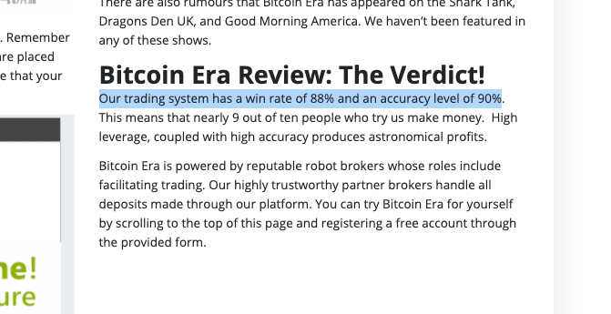 Bitcoin era scam accuracy rate