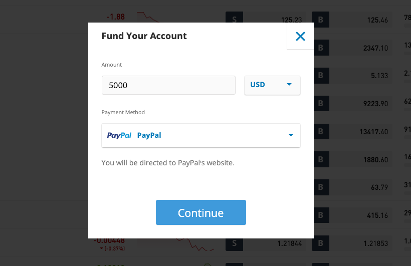 eToro deposit funds