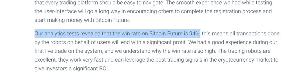 Bitcoin Future fake performance